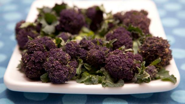 Purple Sprouting Broccoli, I love the name,the flavour and the fact that spring is here!